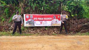 Gencar Kampanyekan Pengunaan Masker, Polsek Ketungau Hulu Pasang Spanduk